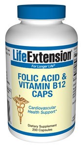 Folic Acid + B12 Vitamin - 200 Capsules - Life Extension